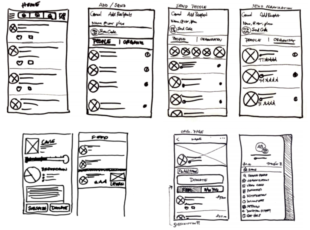 venmo donation app final sketches