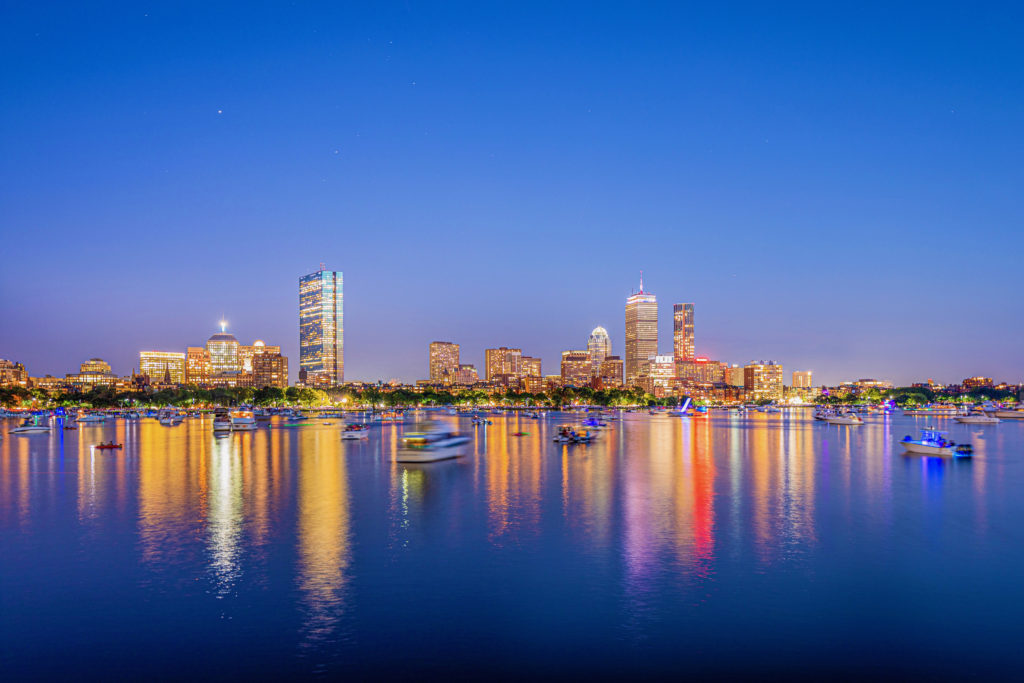 Boston skyline photography shot during twilight