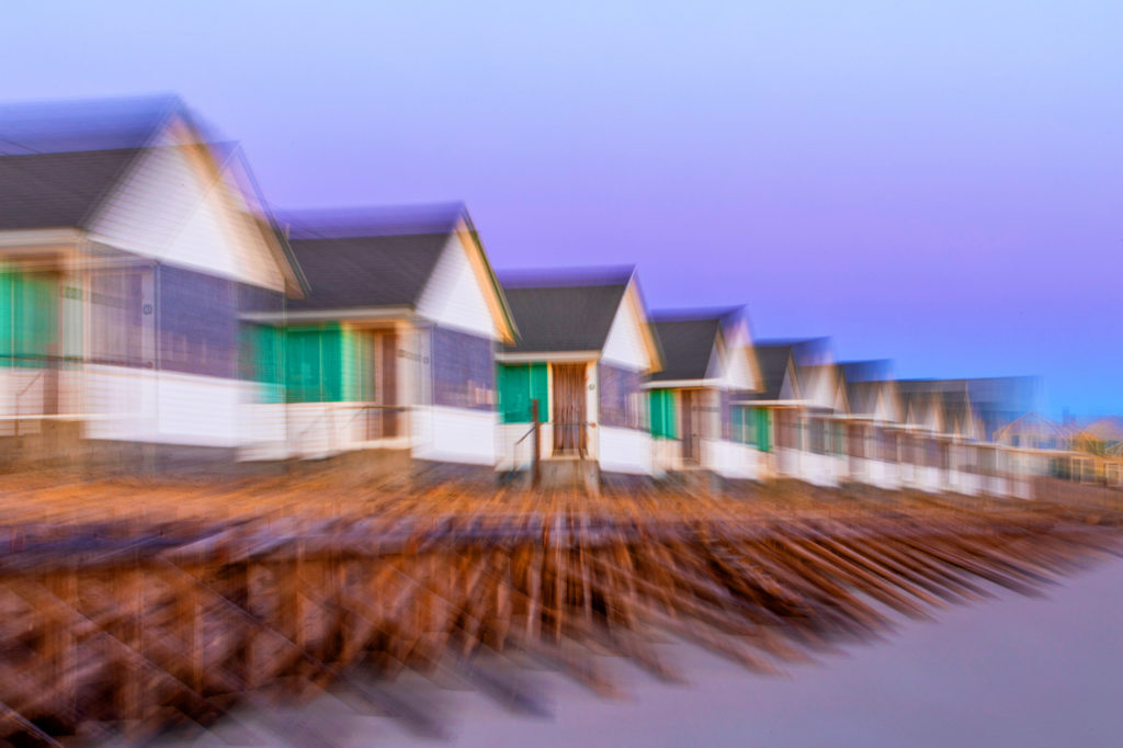 Days' Cottages transcend into twilight, North Truro